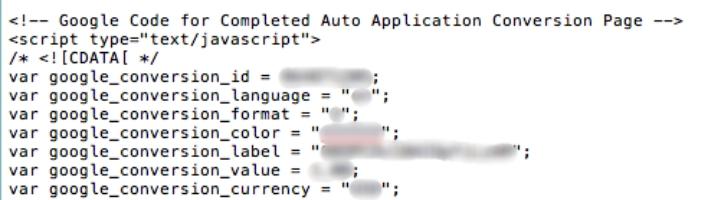 Google AdWords Conversion Code
