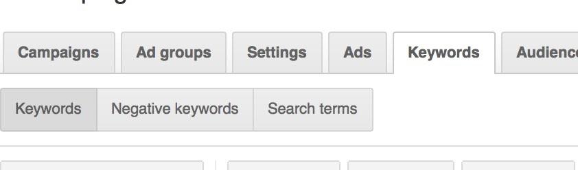 AdWords Keywords Tab