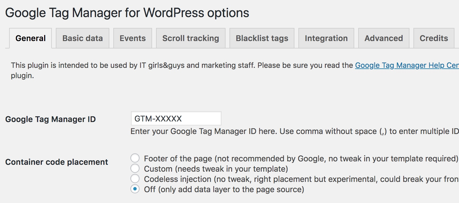 GTM for WordPress Settings